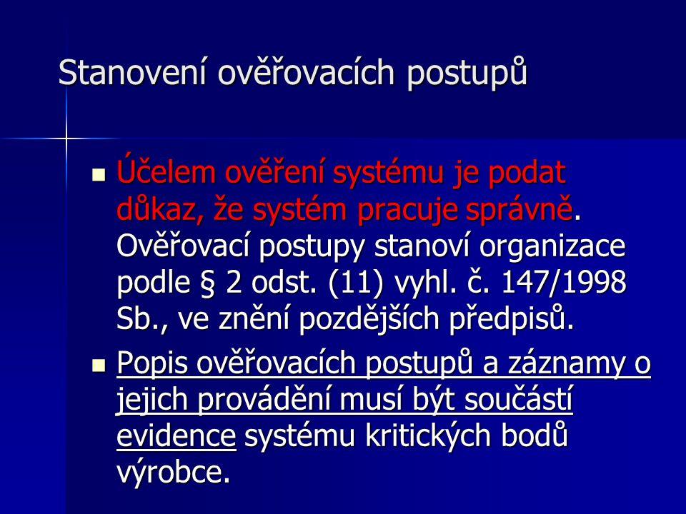 Stanovení ověřovacích postupů Účelem ověření systému je podat důkaz, že systém pracuje správně. Ověřovací postupy stanoví organizace podle § 2 odst. (