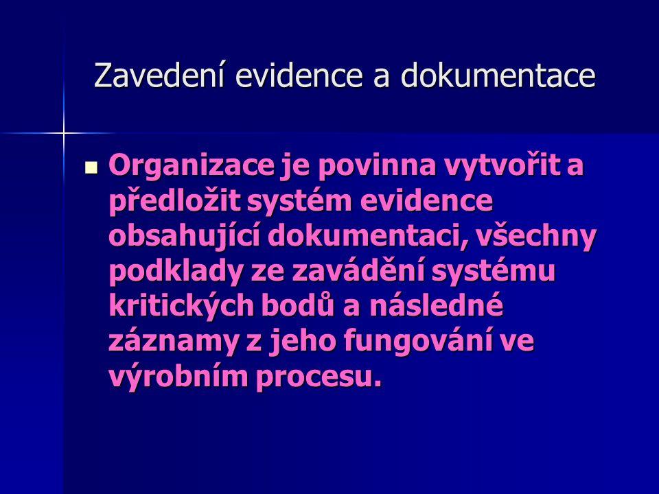 Zavedení evidence a dokumentace Zavedení evidence a dokumentace Organizace je povinna vytvořit a předložit systém evidence obsahující dokumentaci, vše