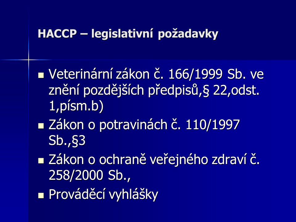 HACCP – legislativní požadavky Veterinární zákon č. 166/1999 Sb. ve znění pozdějších předpisů,§ 22,odst. 1,písm.b) Veterinární zákon č. 166/1999 Sb. v