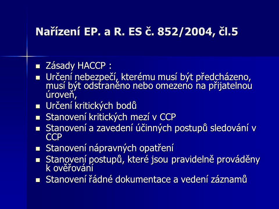 Nařízení EP. a R. ES č. 852/2004, čl.5 Zásady HACCP : Zásady HACCP : Určení nebezpečí, kterému musí být předcházeno, musí být odstraněno nebo omezeno