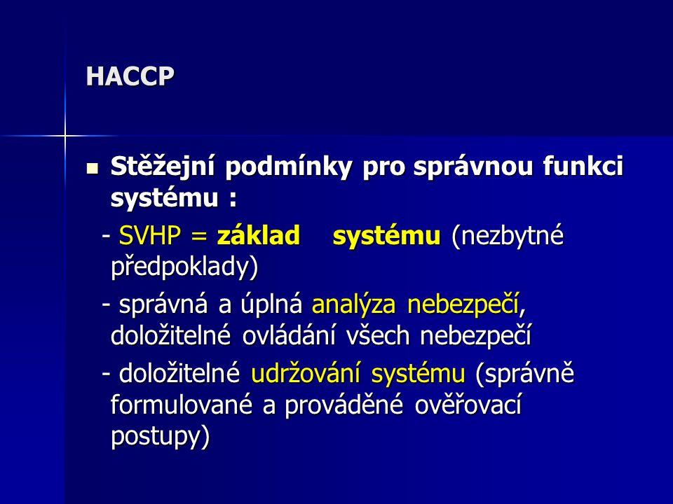 Zjišťované chyby v systémech HACCP Nedostatečně popsán systém zvládnutého stavu v CCP ( způsob měření, frekvence, odpovědnosti, prováděná kontrola ) Nedostatečně popsán systém zvládnutého stavu v CCP ( způsob měření, frekvence, odpovědnosti, prováděná kontrola ) Nejsou stanovena nápravná opatření pro každý kritický bod Nejsou stanovena nápravná opatření pro každý kritický bod Chybí dokumentace o ověřování funkčnosti systému Chybí dokumentace o ověřování funkčnosti systému