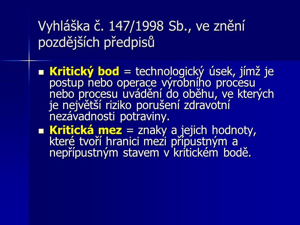 Vyhláška č. 147/1998 Sb., ve znění pozdějších předpisů Kritický bod = technologický úsek, jímž je postup nebo operace výrobního procesu nebo procesu u