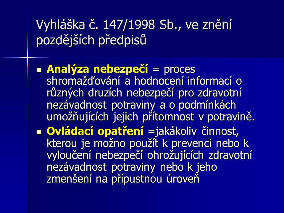 Vyhláška č. 147/1998 Sb., ve znění pozdějších předpisů Analýza nebezpečí = proces shromažďování a hodnocení informací o různých druzích nebezpečí pro