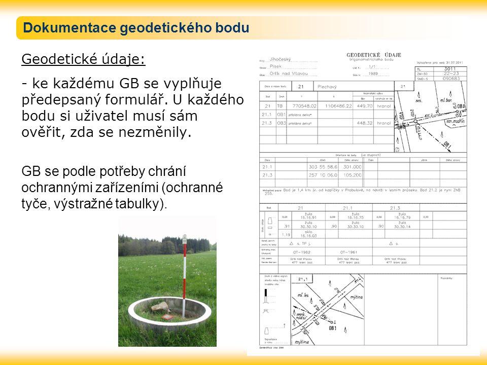 Dokumentace geodetického bodu Geodetické údaje: - ke každému GB se vyplňuje předepsaný formulář. U každého bodu si uživatel musí sám ověřit, zda se ne