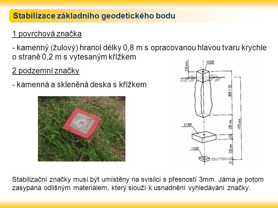 Stabilizace základního geodetického bodu 1 povrchová značka - kamenný (žulový) hranol délky 0,8 m s opracovanou hlavou tvaru krychle o straně 0,2 m s