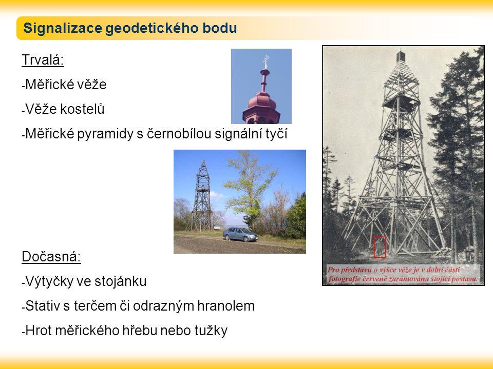 Signalizace geodetického bodu Trvalá: - Měřické věže - Věže kostelů - Měřické pyramidy s černobílou signální tyčí Dočasná: - Výtyčky ve stojánku - Sta