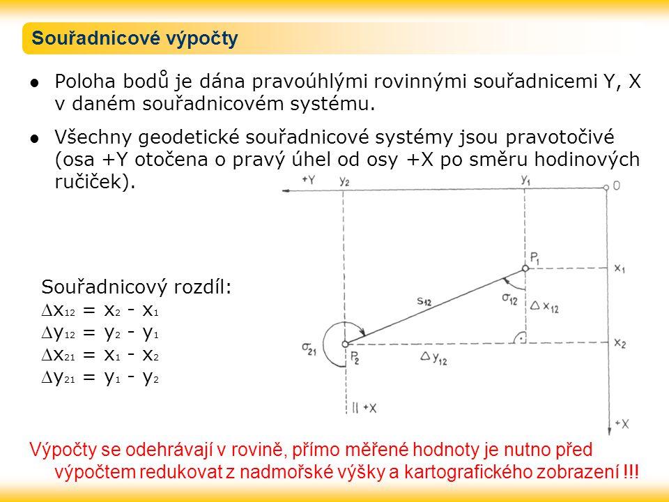 Souřadnicové výpočty Poloha bodů je dána pravoúhlými rovinnými souřadnicemi Y, X v daném souřadnicovém systému. Všechny geodetické souřadnicové systém