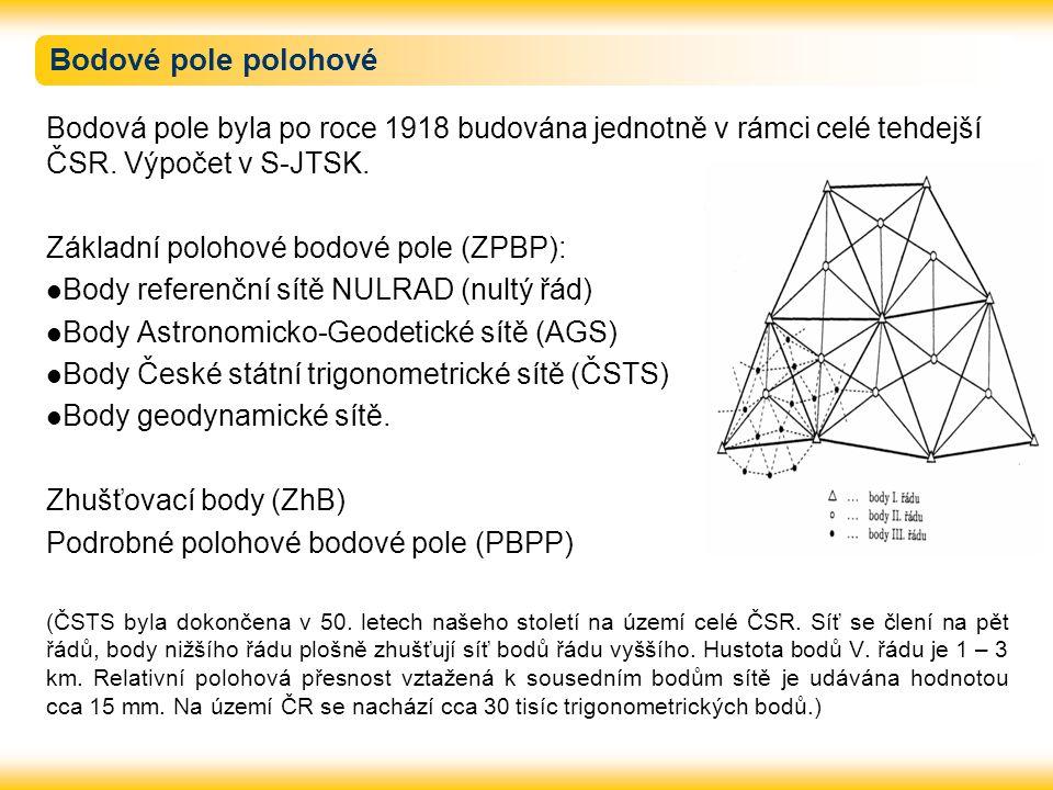 Bodové pole polohové Bodová pole byla po roce 1918 budována jednotně v rámci celé tehdejší ČSR. Výpočet v S-JTSK. Základní polohové bodové pole (ZPBP)