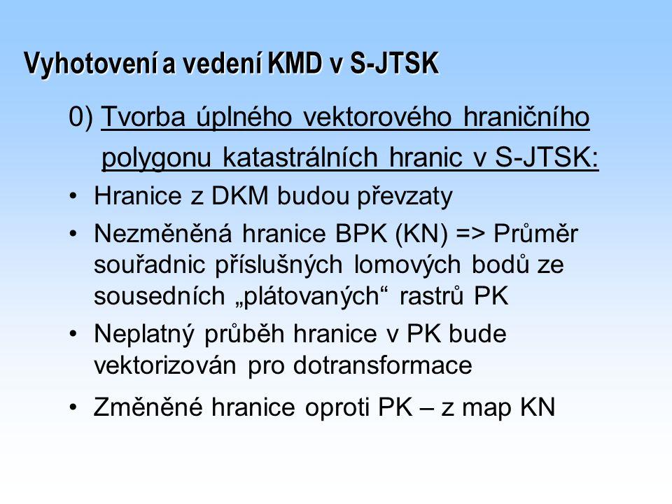 Vyhotovení a vedení KMD v S-JTSK 0) Tvorba úplného vektorového hraničního polygonu katastrálních hranic v S-JTSK: Hranice z DKM budou převzaty Nezměně