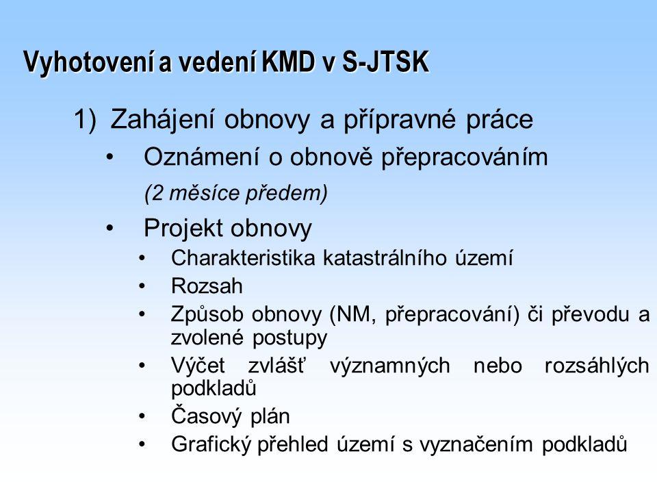 Vyhotovení a vedení KMD v S-JTSK 1) 1)Zahájení obnovy a přípravné práce Oznámení o obnově přepracováním (2 měsíce předem) Projekt obnovy Charakteristi