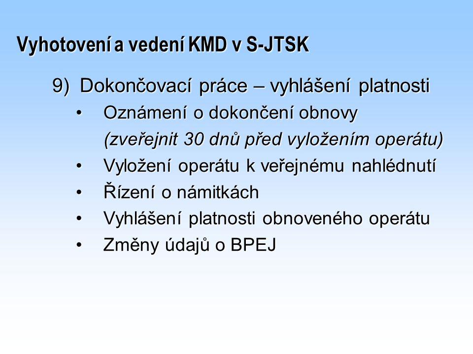 Vyhotovení a vedení KMD v S-JTSK 9)Dokončovací práce – vyhlášení platnosti Oznámení o dokončení obnovyOznámení o dokončení obnovy (zveřejnit 30 dnů př