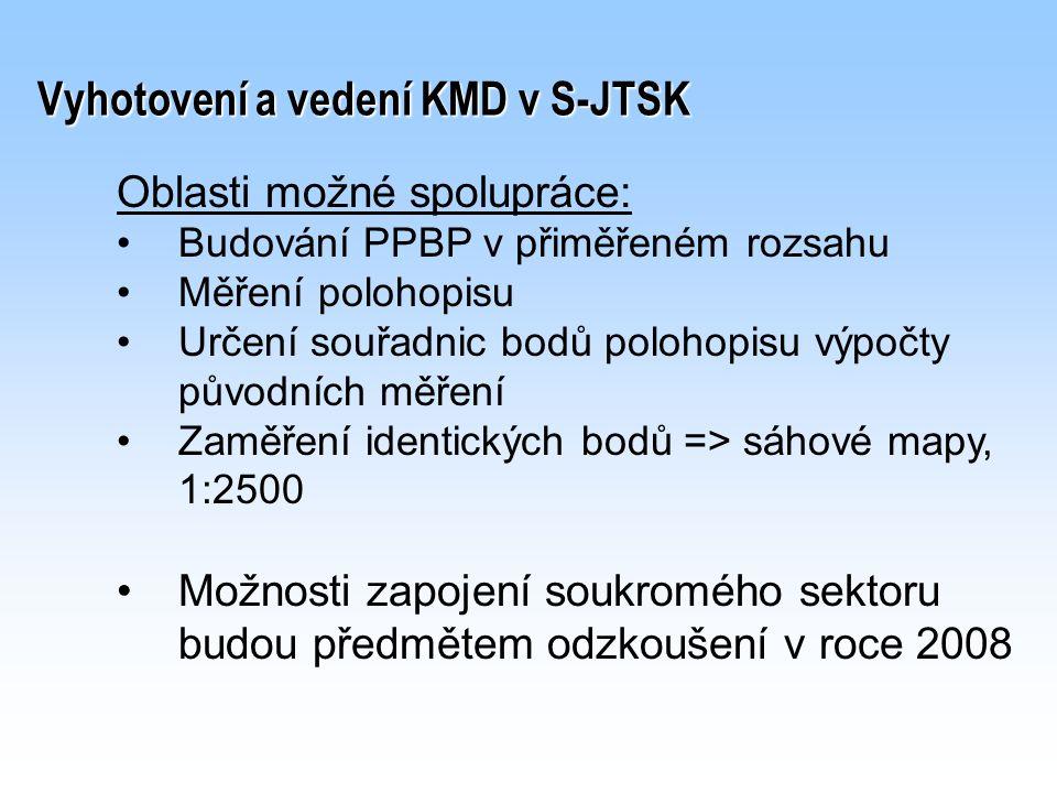 Vyhotovení a vedení KMD v S-JTSK Oblasti možné spolupráce: Budování PPBP v přiměřeném rozsahu Měření polohopisu Určení souřadnic bodů polohopisu výpoč