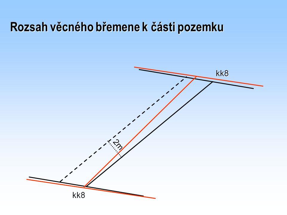 Rozsah věcného břemene k části pozemku 2m kk8 kk8