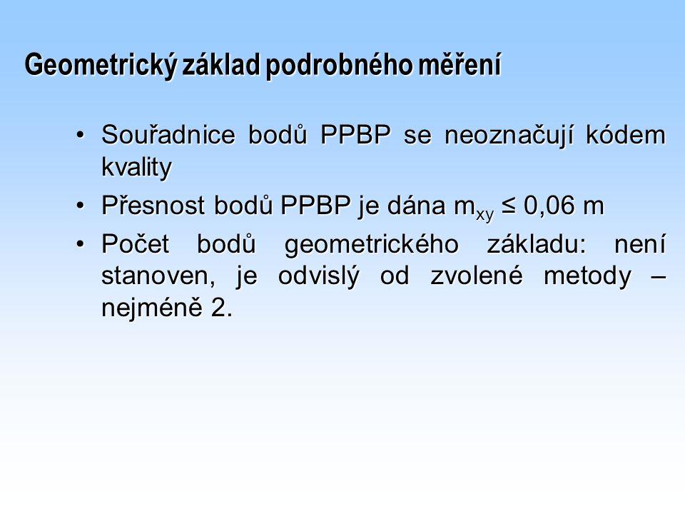 Geometrický základ podrobného měření Souřadnice bodů PPBP se neoznačují kódem kvalitySouřadnice bodů PPBP se neoznačují kódem kvality Přesnost bodů PP