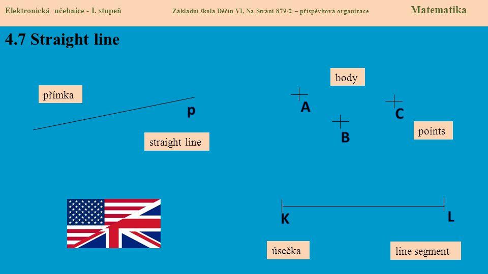 4.7 Straight line Elektronická učebnice - I. stupeň Základní škola Děčín VI, Na Stráni 879/2 – příspěvková organizace Matematika straight line přímka