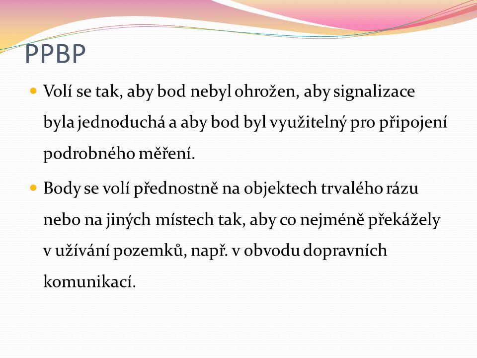 PPBP Volí se tak, aby bod nebyl ohrožen, aby signalizace byla jednoduchá a aby bod byl využitelný pro připojení podrobného měření. Body se volí předno