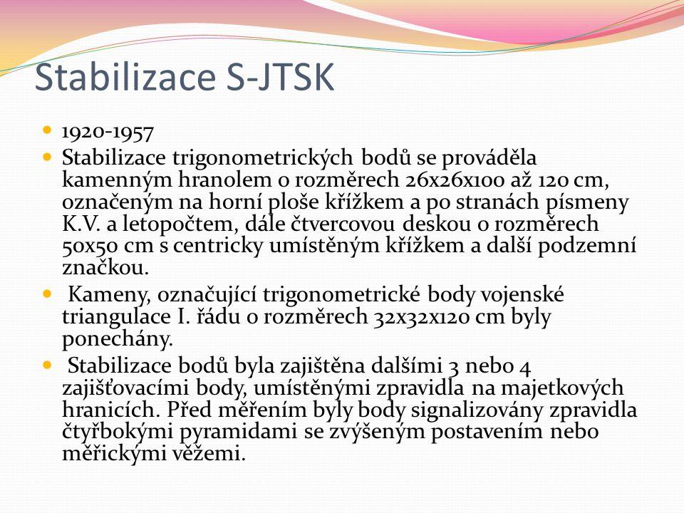 Stabilizace S-JTSK 1920-1957 Stabilizace trigonometrických bodů se prováděla kamenným hranolem o rozměrech 26x26x100 až 120 cm, označeným na horní plo