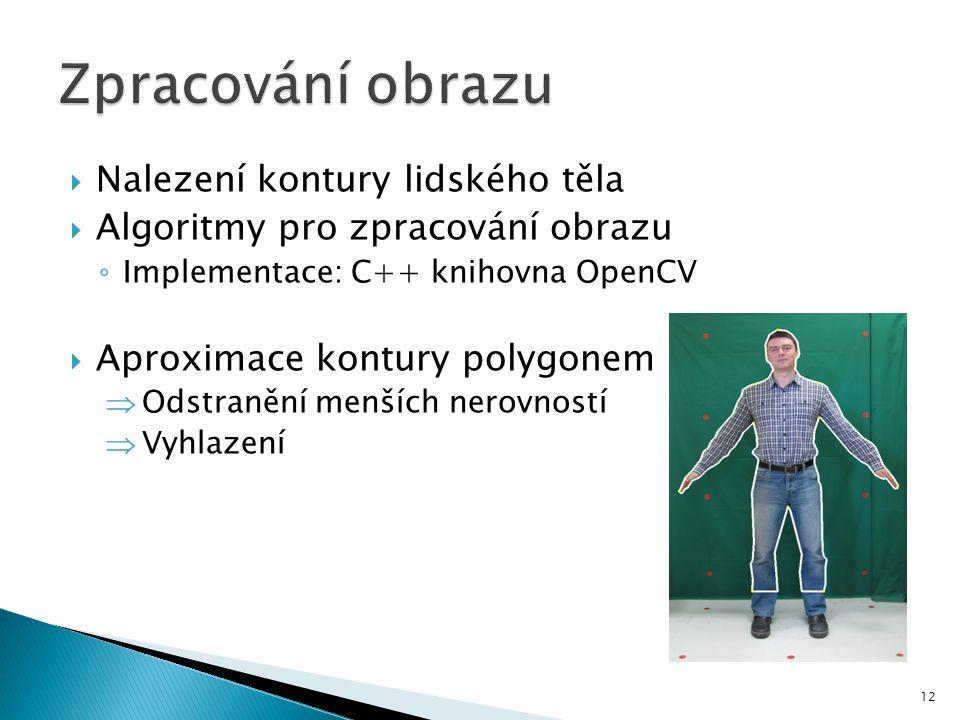  Nalezení kontury lidského těla  Algoritmy pro zpracování obrazu ◦ Implementace: C++ knihovna OpenCV  Aproximace kontury polygonem  Odstranění menších nerovností  Vyhlazení 12