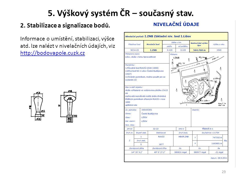 29 5. Výškový systém ČR – současný stav. 2. Stabilizace a signalizace bodů. Informace o umístění, stabilizaci, výšce atd. lze nalézt v nivelačních úda