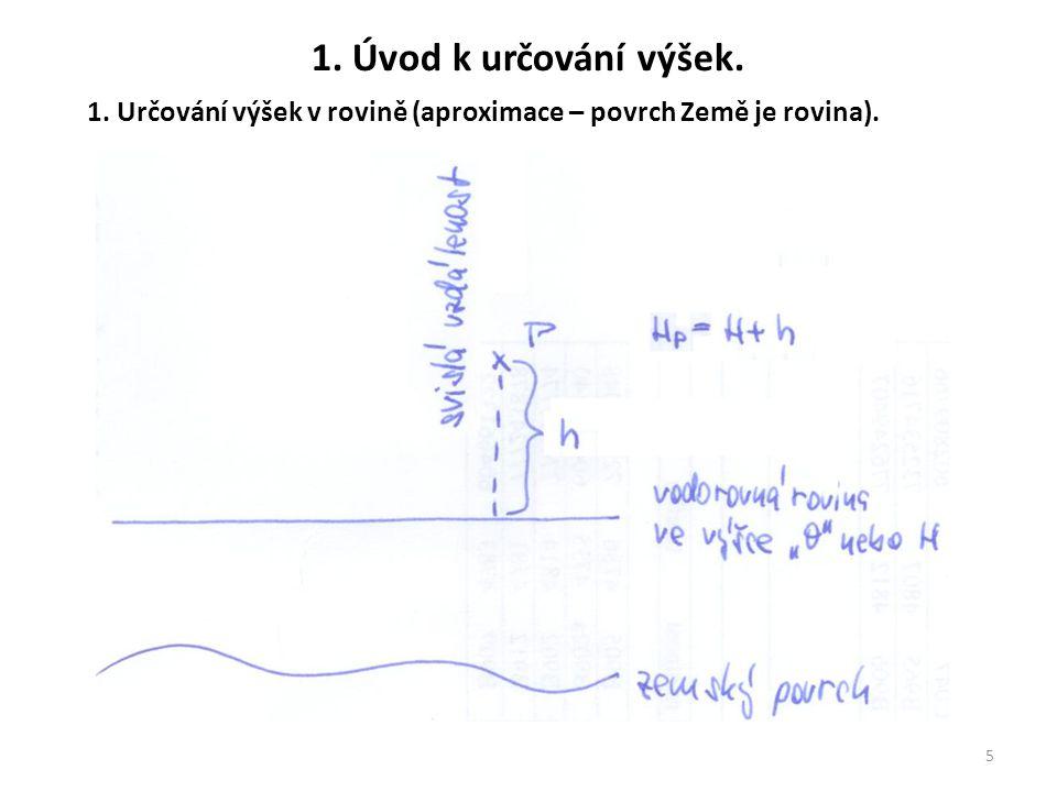 1. Úvod k určování výšek. 5 1. Určování výšek v rovině (aproximace – povrch Země je rovina).