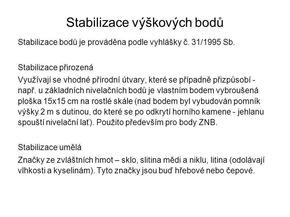 Stabilizace výškových bodů Stabilizace bodů je prováděna podle vyhlášky č. 31/1995 Sb. Stabilizace přirozená Využívají se vhodné přírodní útvary, kter