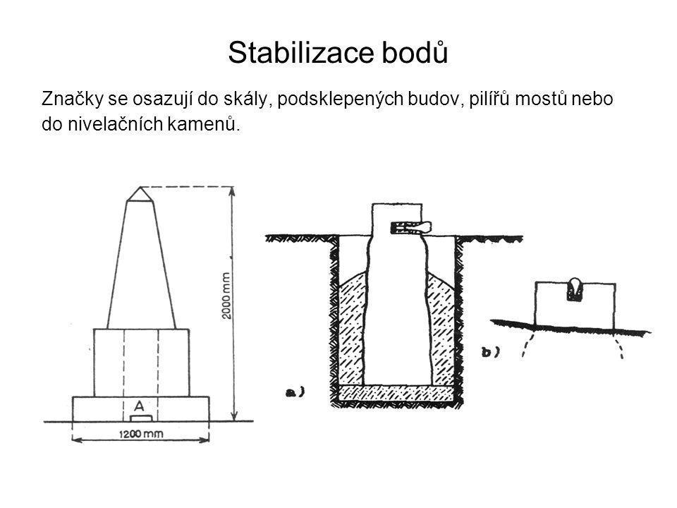 Stabilizace bodů Značky se osazují do skály, podsklepených budov, pilířů mostů nebo do nivelačních kamenů.