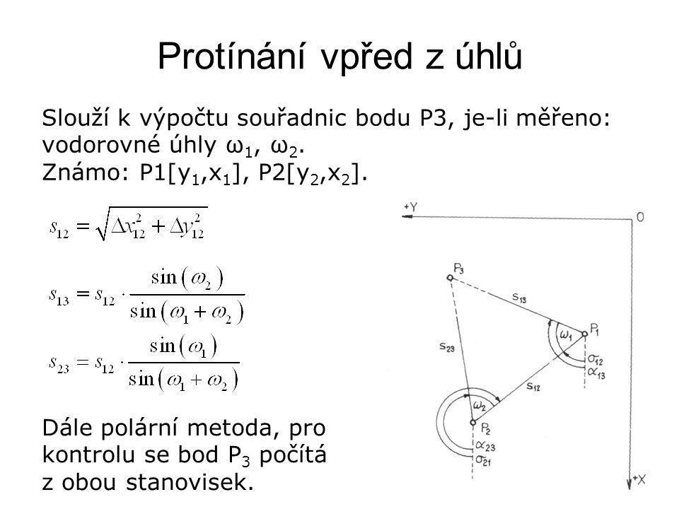 Protínání vpřed z úhlů Slouží k výpočtu souřadnic bodu P3, je-li měřeno: vodorovné úhly ω 1, ω 2. Známo: P1[y 1,x 1 ], P2[y 2,x 2 ]. Dále polární meto