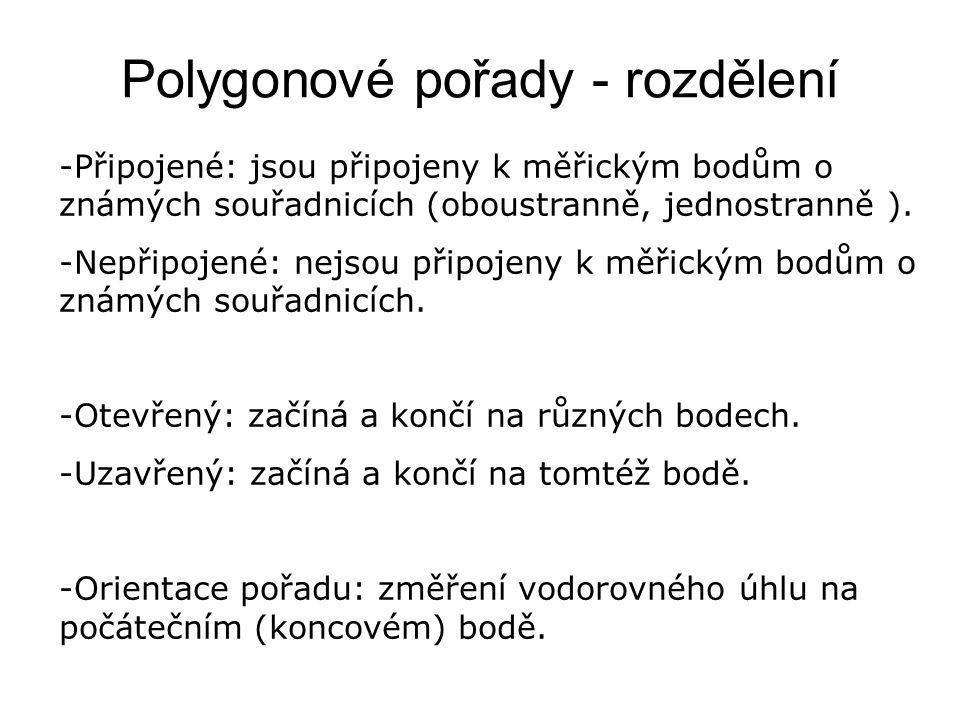 Polygonové pořady - rozdělení -Připojené: jsou připojeny k měřickým bodům o známých souřadnicích (oboustranně, jednostranně ). -Nepřipojené: nejsou př