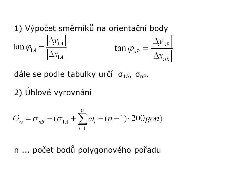 1) Výpočet směrníků na orientační body dále se podle tabulky určí σ 1A, σ nB. 2) Úhlové vyrovnání n... počet bodů polygonového pořadu