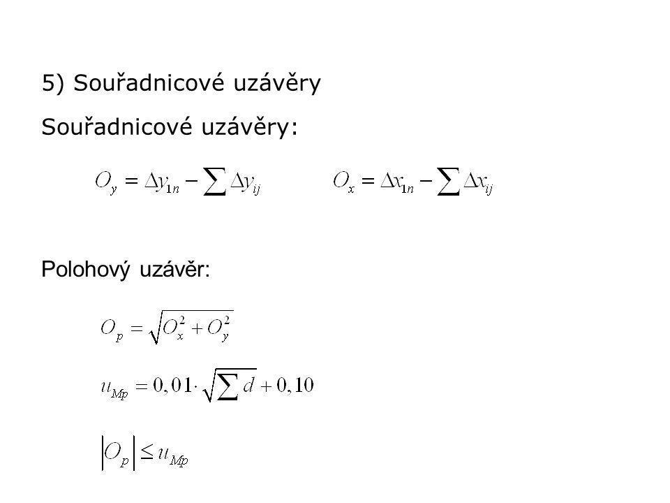 5) Souřadnicové uzávěry Souřadnicové uzávěry: Polohový uzávěr: