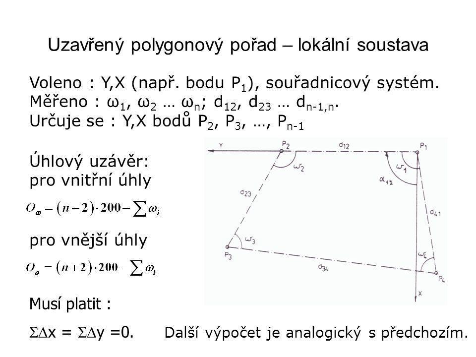 Voleno : Y,X (např. bodu P 1 ), souřadnicový systém. Měřeno : ω 1, ω 2 … ω n ; d 12, d 23 … d n-1,n. Určuje se : Y,X bodů P 2, P 3, …, P n-1 Úhlový uz