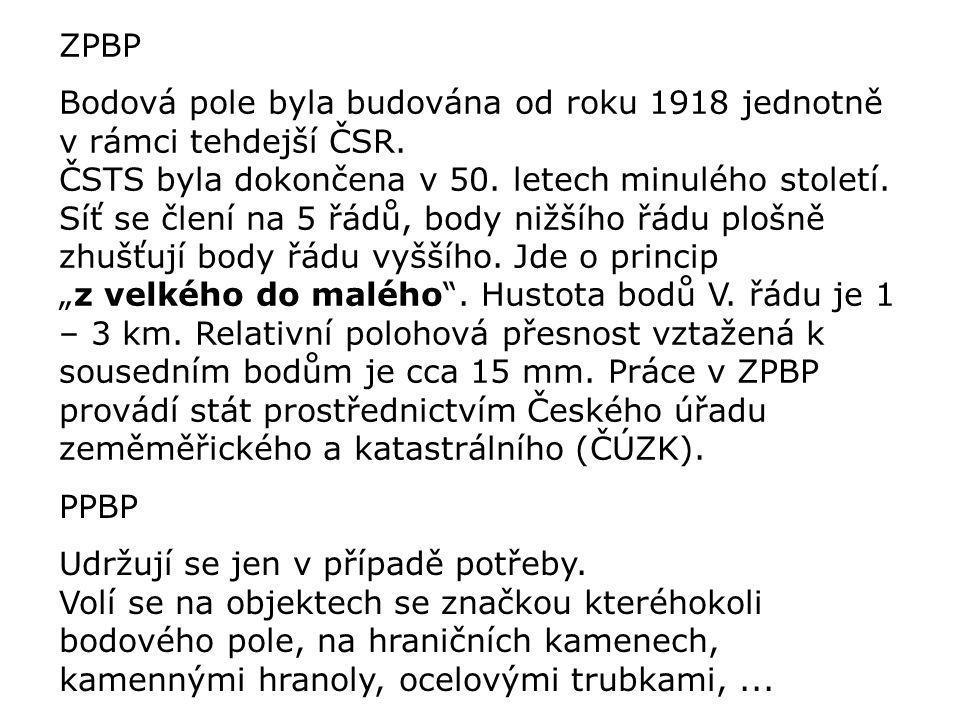 ZPBP Bodová pole byla budována od roku 1918 jednotně v rámci tehdejší ČSR.