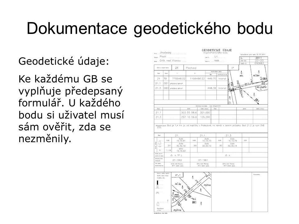 Dokumentace geodetického bodu Geodetické údaje: Ke každému GB se vyplňuje předepsaný formulář.