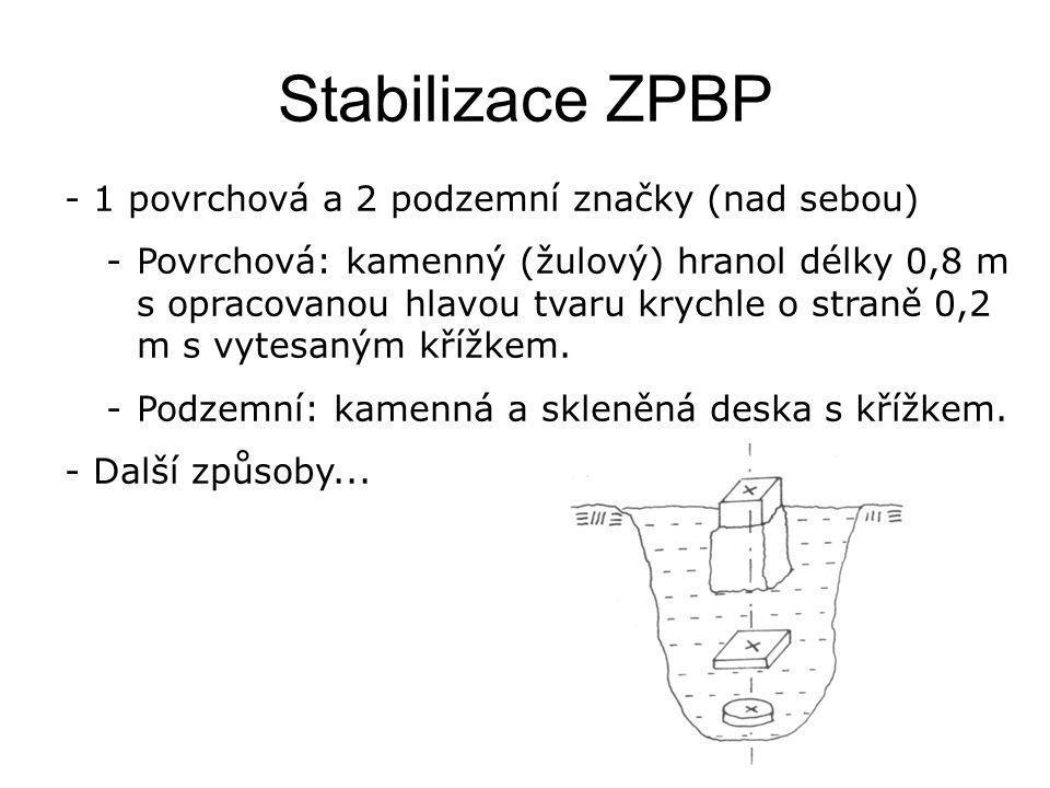 Stabilizace ZPBP - 1 povrchová a 2 podzemní značky (nad sebou) -Povrchová: kamenný (žulový) hranol délky 0,8 m s opracovanou hlavou tvaru krychle o straně 0,2 m s vytesaným křížkem.