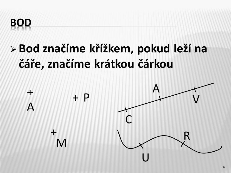  Bod značíme křížkem, pokud leží na čáře, značíme krátkou čárkou 4 + A + M +P C V A U R
