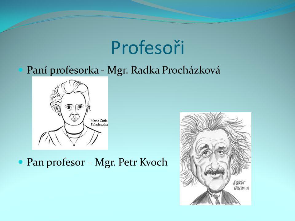Profesoři Paní profesorka - Mgr. Radka Procházková Pan profesor – Mgr. Petr Kvoch Marie Curie Sklodowska
