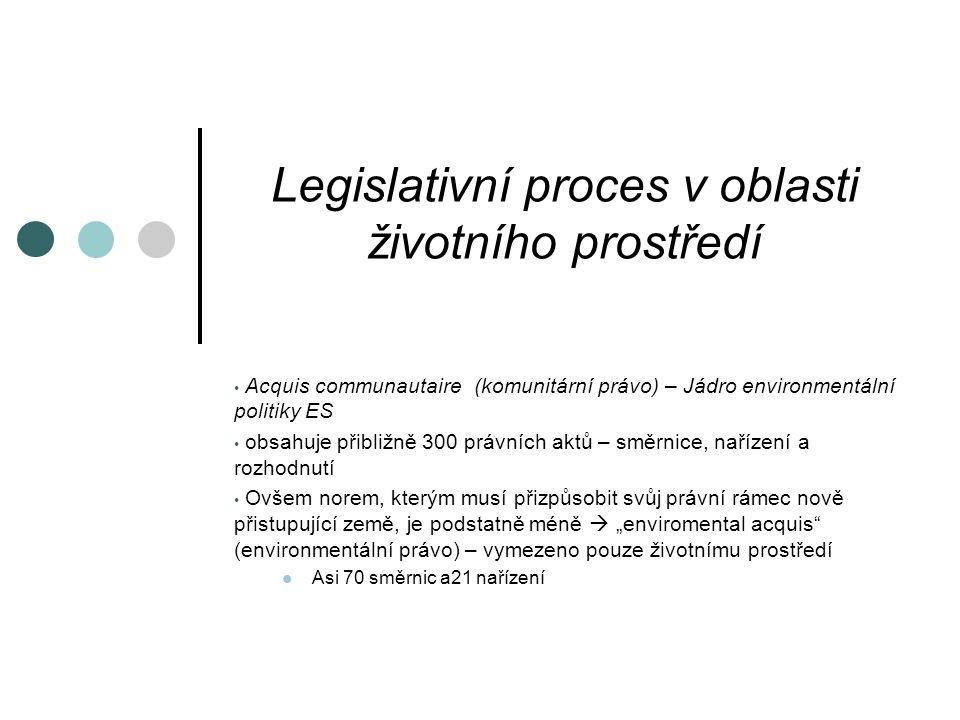 """Legislativní proces v oblasti životního prostředí Acquis communautaire (komunitární právo) – Jádro environmentální politiky ES obsahuje přibližně 300 právních aktů – směrnice, nařízení a rozhodnutí Ovšem norem, kterým musí přizpůsobit svůj právní rámec nově přistupující země, je podstatně méně  """"enviromental acquis (environmentální právo) – vymezeno pouze životnímu prostředí Asi 70 směrnic a21 nařízení"""