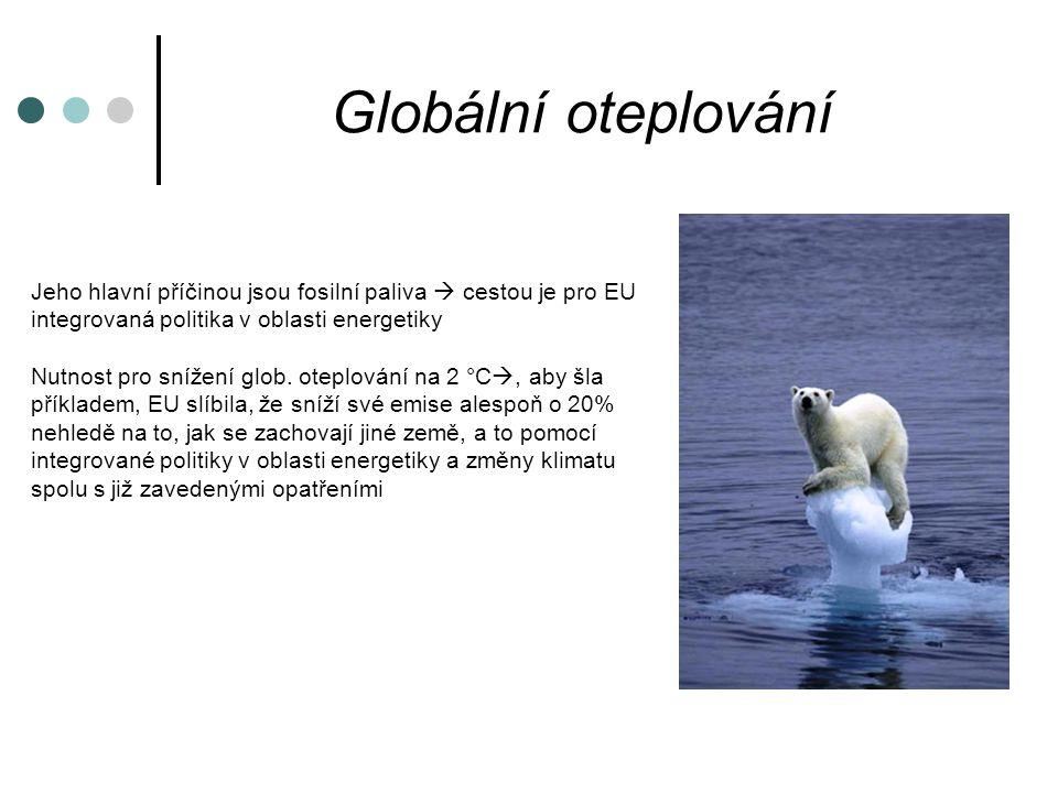 Globální oteplování Jeho hlavní příčinou jsou fosilní paliva  cestou je pro EU integrovaná politika v oblasti energetiky Nutnost pro snížení glob.
