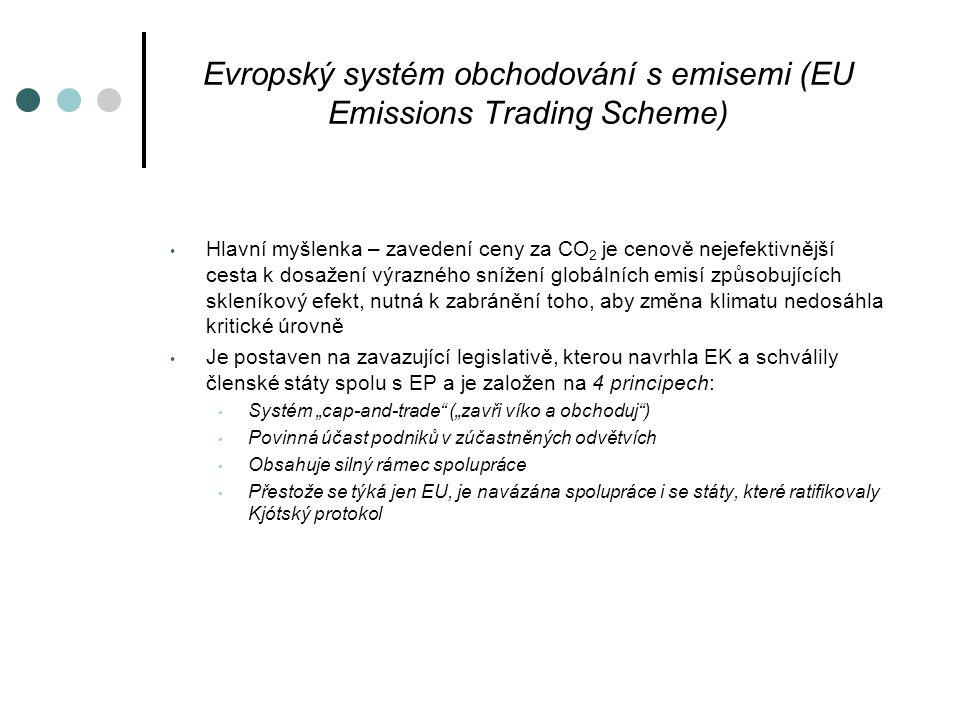 """Evropský systém obchodování s emisemi (EU Emissions Trading Scheme) Hlavní myšlenka – zavedení ceny za CO 2 je cenově nejefektivnější cesta k dosažení výrazného snížení globálních emisí způsobujících skleníkový efekt, nutná k zabránění toho, aby změna klimatu nedosáhla kritické úrovně Je postaven na zavazující legislativě, kterou navrhla EK a schválily členské státy spolu s EP a je založen na 4 principech: Systém """"cap-and-trade (""""zavři víko a obchoduj ) Povinná účast podniků v zúčastněných odvětvích Obsahuje silný rámec spolupráce Přestože se týká jen EU, je navázána spolupráce i se státy, které ratifikovaly Kjótský protokol"""