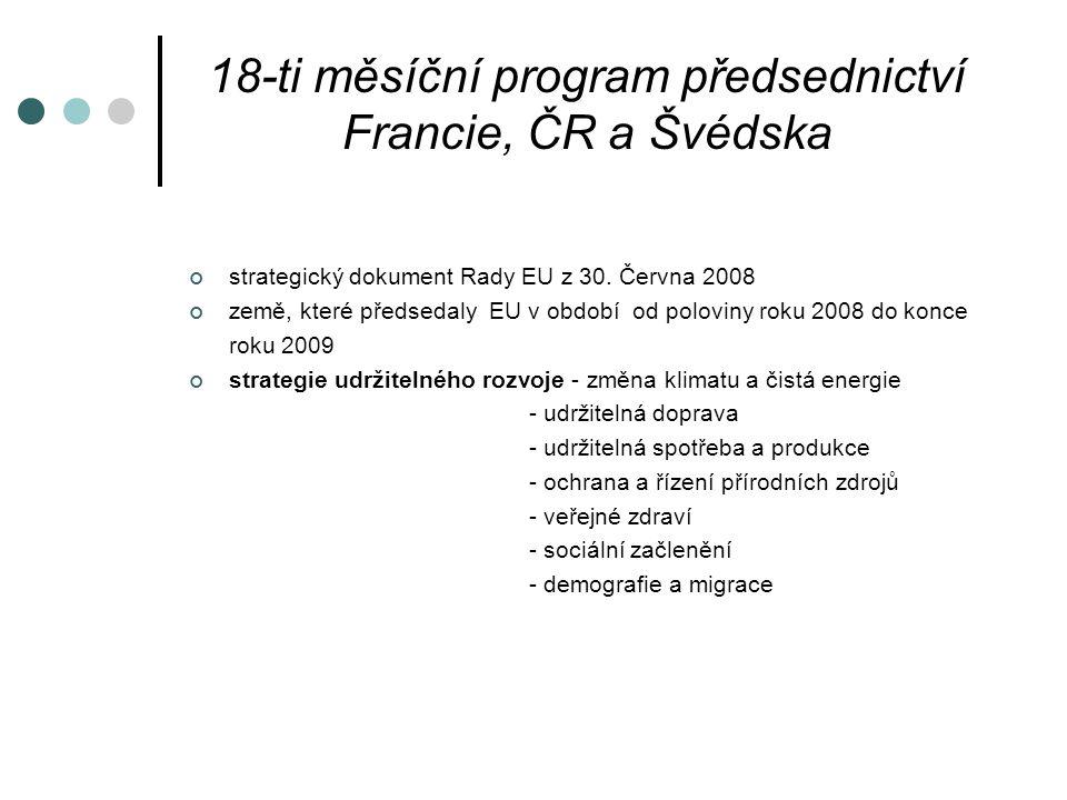 18-ti měsíční program předsednictví Francie, ČR a Švédska strategický dokument Rady EU z 30.