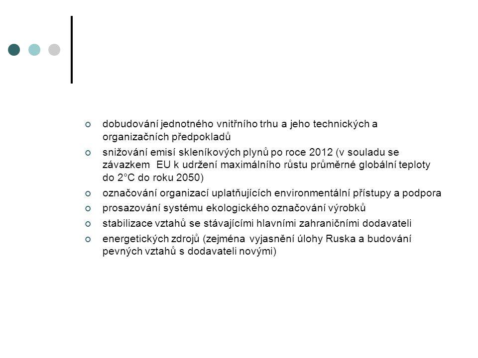 dobudování jednotného vnitřního trhu a jeho technických a organizačních předpokladů snižování emisí skleníkových plynů po roce 2012 (v souladu se závazkem EU k udržení maximálního růstu průměrné globální teploty do 2°C do roku 2050) označování organizací uplatňujících environmentální přístupy a podpora prosazování systému ekologického označování výrobků stabilizace vztahů se stávajícími hlavními zahraničními dodavateli energetických zdrojů (zejména vyjasnění úlohy Ruska a budování pevných vztahů s dodavateli novými)