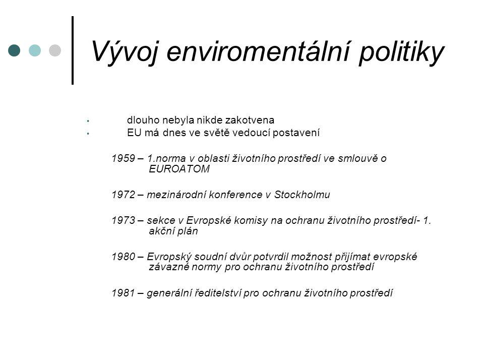 Vývoj enviromentální politiky dlouho nebyla nikde zakotvena EU má dnes ve světě vedoucí postavení 1959 – 1.norma v oblasti životního prostředí ve smlouvě o EUROATOM 1972 – mezinárodní konference v Stockholmu 1973 – sekce v Evropské komisy na ochranu životního prostředí- 1.