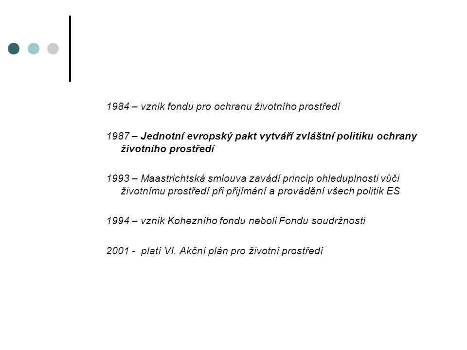 1984 – vznik fondu pro ochranu životního prostředí 1987 – Jednotní evropský pakt vytváří zvláštní politiku ochrany životního prostředí 1993 – Maastrichtská smlouva zavádí princip ohleduplnosti vůči životnímu prostředí při přijímání a provádění všech politik ES 1994 – vznik Kohezního fondu neboli Fondu soudržnosti 2001 - platí VI.