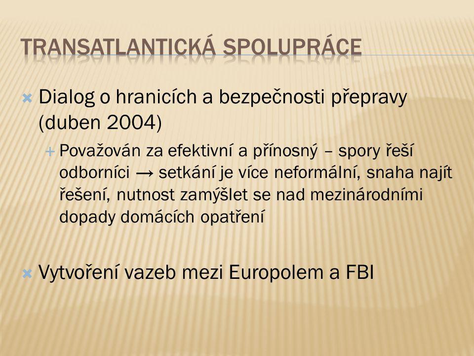  Dialog o hranicích a bezpečnosti přepravy (duben 2004)  Považován za efektivní a přínosný – spory řeší odborníci → setkání je více neformální, snaha najít řešení, nutnost zamýšlet se nad mezinárodními dopady domácích opatření  Vytvoření vazeb mezi Europolem a FBI