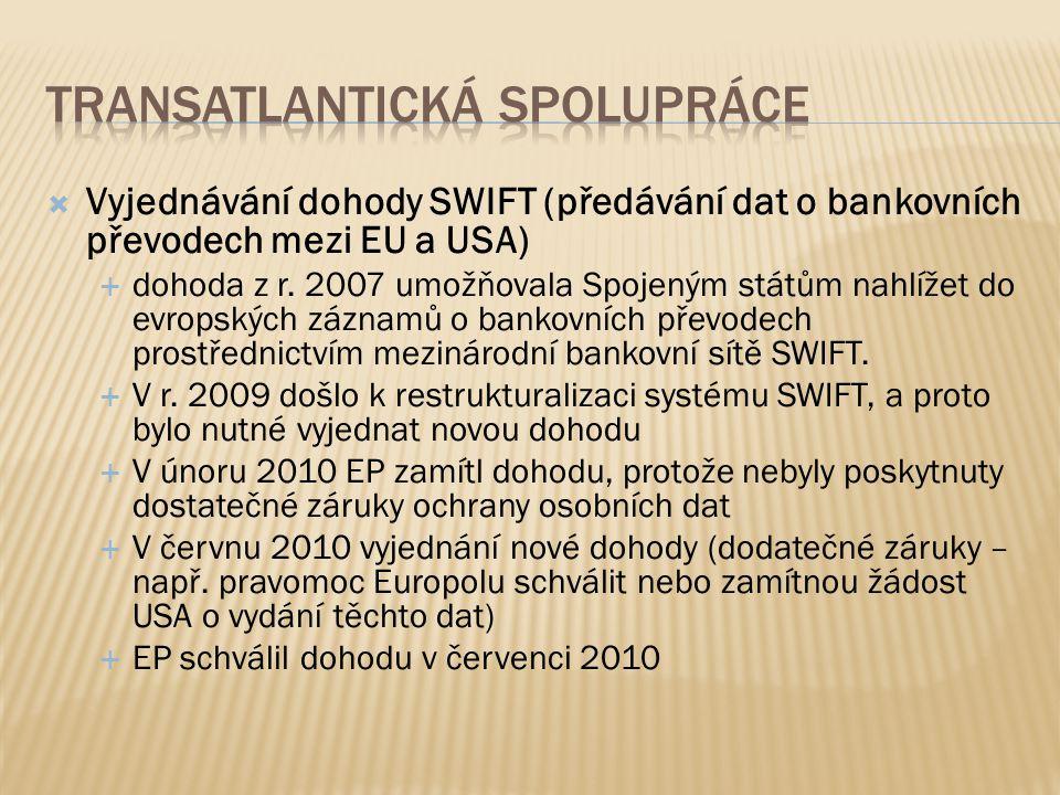  Vyjednávání dohody SWIFT (předávání dat o bankovních převodech mezi EU a USA)  dohoda z r.