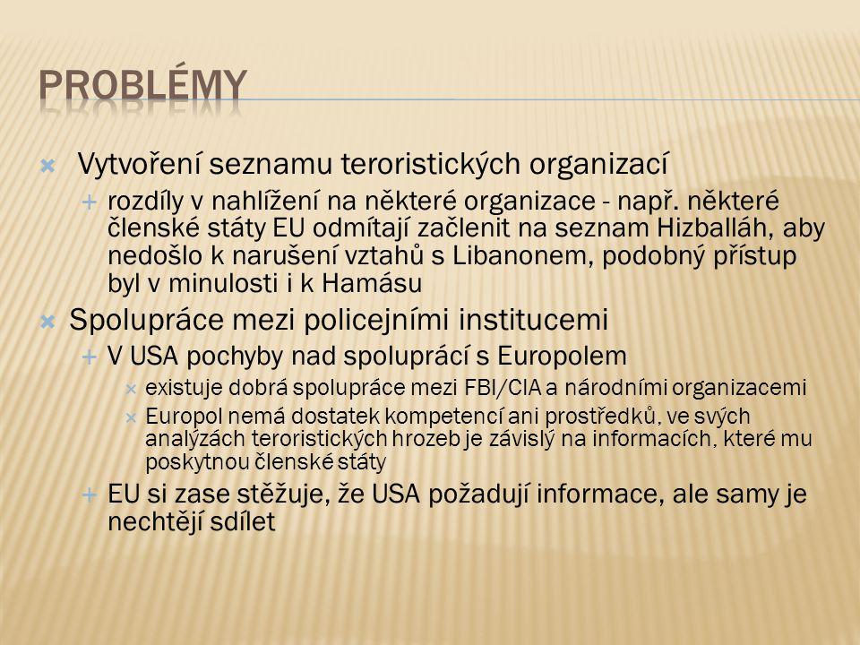  Vytvoření seznamu teroristických organizací  rozdíly v nahlížení na některé organizace - např.