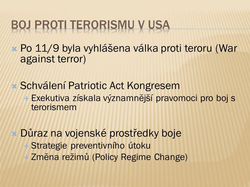  Po 11/9 byla vyhlášena válka proti teroru (War against terror)  Schválení Patriotic Act Kongresem  Exekutiva získala významnější pravomoci pro boj s terorismem  Důraz na vojenské prostředky boje  Strategie preventivního útoku  Změna režimů (Policy Regime Change)