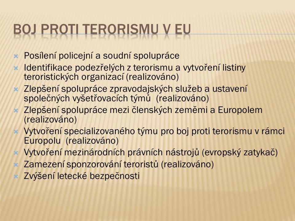  Posílení policejní a soudní spolupráce  Identifikace podezřelých z terorismu a vytvoření listiny teroristických organizací (realizováno)  Zlepšení spolupráce zpravodajských služeb a ustavení společných vyšetřovacích týmů (realizováno)  Zlepšení spolupráce mezi členských zeměmi a Europolem (realizováno)  Vytvoření specializovaného týmu pro boj proti terorismu v rámci Europolu (realizováno)  Vytvoření mezinárodních právních nástrojů (evropský zatykač)  Zamezení sponzorování teroristů (realizováno)  Zvýšení letecké bezpečnosti