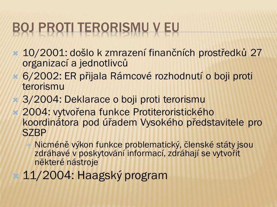  10/2001: došlo k zmrazení finančních prostředků 27 organizací a jednotlivců  6/2002: ER přijala Rámcové rozhodnutí o boji proti terorismu  3/2004: Deklarace o boji proti terorismu  2004: vytvořena funkce Protiteroristického koordinátora pod úřadem Vysokého představitele pro SZBP  Nicméně výkon funkce problematický, členské státy jsou zdráhavé v poskytování informací, zdráhají se vytvořit některé nástroje  11/2004: Haagský program