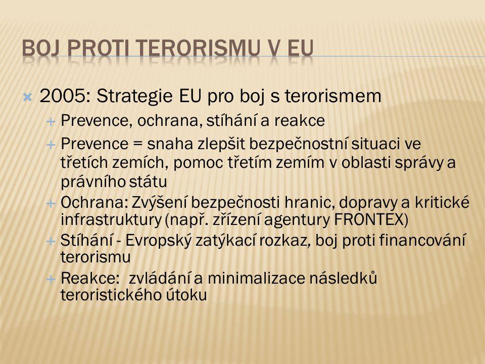 2005: Strategie EU pro boj s terorismem  Prevence, ochrana, stíhání a reakce  Prevence = snaha zlepšit bezpečnostní situaci ve třetích zemích, pomoc třetím zemím v oblasti správy a právního státu  Ochrana: Zvýšení bezpečnosti hranic, dopravy a kritické infrastruktury (např.